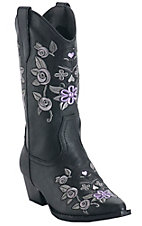 Roper® Rockstar™ Kids Black w/ Purple & Grey Floral Embroidery Snip Toe Western Fashion Boots