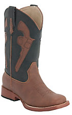 Roper® Kids Brown w/ Black Top & Brown Pistols Square Toe Western Boot