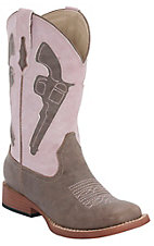 Roper® Kids Brown w/ Pink Pistol Top Square Toe Western Boots