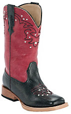 Roper® Kids Black w/ Red Studded Top Square Toe Western Boots