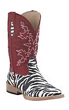 Roper® Kids Black & White Glitter Zebra w/ Red Top Square Toe Western Boots