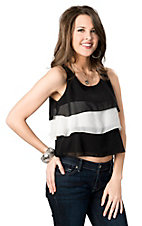 Fashion Spy® Women's Black and Ivory Tiered Chiffon Cropped Sleeveless Fashion Top