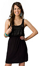 Rock & Roll Cowgirl® Women's Black Jersey Knit with Black Studs and Ruffles Sleeveless Tank Dress