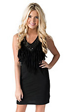 Rock & Roll Cowgirl Women's Black with Fringe and Studs Sleeveless Jersey Knit Dress
