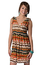 Rock & Roll Cowgirl® Women's Tan and Orange Aztec Print V-Neck Sleeveless Dress