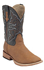 Roper Men's Tumbled Tan w/ Navy Top Square Toe Western Boot
