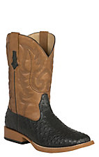 Roper Men's Black Ostrich Print w/Tan Top Double Welt Square Toe Western Boots