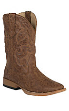 Roper Men's Distressed Brown Double Welt Square Toe Western Boots