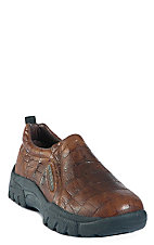 Roper® Men's Brown Embossed Crocodile Print Performance Sport Slip-On Shoes