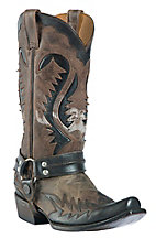 Stetson® Men's Distressed Black w/ Brown Wingtip Chip Toe Harness Western Boot