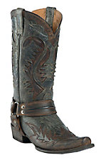 Stetson Men's Distressed Brown w/ Black Wingtip Chip Toe Harness Western Boots