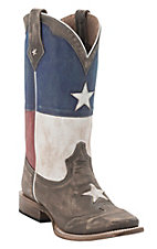 Roper Men's Distressed Brown with Texas Flag Top Square Toe Western Boot