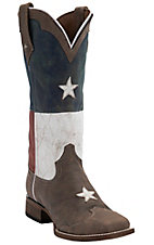 Roper Ladies Distressed Brown with Texas Flag Top Square Toe Western Boot