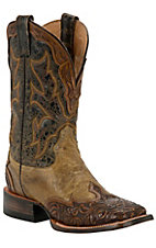 Stetson® Mens Colton Maddog with Tan Brown Tooled Wingtip Square Toe Western Boots