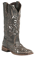 Roper Women's Sanded Brown with Metallic Silver Underlay Square Toe Western Boot