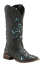 Roper Women's Sanded Black with Metallic Blue Underlay Square Toe Western Boot