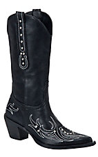 Roper® Ladies Black w/Crystals &  Horseshoe Stitch Pointed Toe Western Fashion Boot