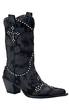Roper® Ladies Black Distressed Studded Cross Pointed Toe Western Fashion Boot