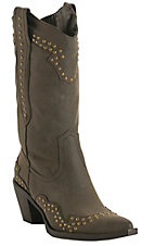 Roper® Rockstar™ Ladies Sueded Brown w/ Brass Studs Pointed Toe Western Fashion Boot