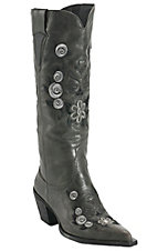 Roper® Ladies Black w/ Floral Skull Embroidery Pointed Toe Western Fashion Boot