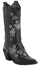 Roper® Ladies Black w/ Grey Floral Embroidery Pointed Toe Western Fashion Boots