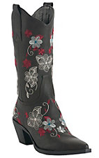 Roper® Ladies Brown w/ Red & Cream Floral Embroidery Pointed Toe Western Fashion Boots
