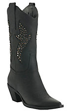 Roper® Ladies Black w/ Silver Studded Inlay Pointed Toe Western Fashion Boot