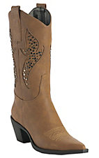 Roper® Ladies Tan w/ Silver & Brass Studded Inlay Pointed Toe Western Fashion Boot