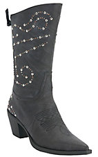 Roper® Rockstar™ Women's Chocolate w/ Silver & Brass Studs Pointed Toe Western Fashion Boot