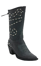Roper Rockstar Women's Black w/ Silver & Brass Studs Pointed Toe Western Fashion Boot
