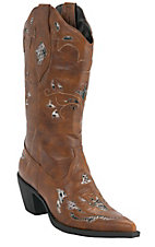 Roper® Rockstar™ Women's Cognac Tan w/ Python Snake Inlay Pointed Toe Western Fashion Boot