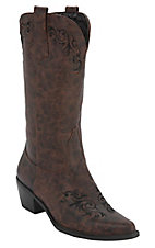 Roper® Women's Brown w/ Black Vine Embroidery Pointed Toe Western Fashion Boots