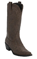 Roper Women's Distressed Brown w/ Brown Vine Embroidery Pointed Toe Western Fashion Boots