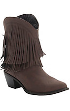 Roper Rockstar Ladies Brown with Fringe Short Top Fashion Western Boots
