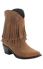 Roper Rockstar Ladies Tan with Fringe Short Top Fashion Western Boots