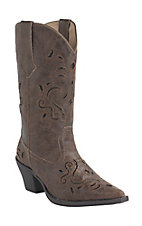 Roper Women's Brown w/ Black Glitter Underlay Snip Toe Western Fashion Boots