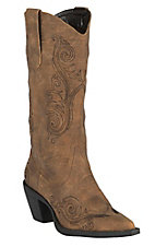 Roper Women's Tan w/ Black Vine Embroidery Snip Toe Western Fashion Boots