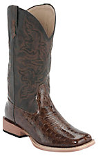 Roper® Women's Brown Croc Print w/ Chocolate Top Square Toe Western Boot