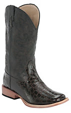 Roper® Women's Chocolate Croc Print w/ Chocolate Top Square Toe Western Boot