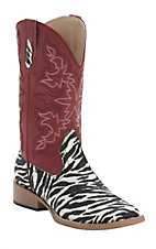 Roper Ladies Ivory & Black Glitter Zebra with Red Top Square Toe Western Boots
