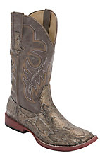Roper® Ladies Brown & Taupe Metallic Snake Print Square Toe Western Boots