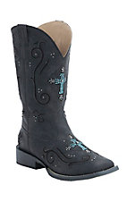 Roper Women's Sanded Black with Turquoise Crystal Cross Underlay Square Toe Western Boot