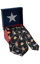 American Lifestyle® Black w/ Rodeo Cowboys Neck Tie