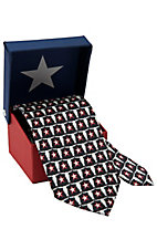 American Lifestyle® Black w/ Red Stars & Longhorns Neck Tie