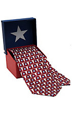 American Lifestyle® Red w/ Blue Stars & Longhorns Neck Tie