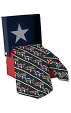 American Lifestyle® Black w/ Texas Flag & Longhorns Neck Tie