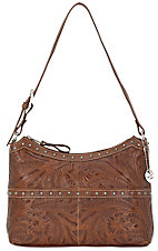 American West® Ladies Heartland Collection Antique Brown Hand Tooled Leather Handbag