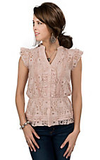 Color Fx® Women's Blush Pink Lace Button Down Peplum Top