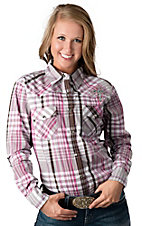 Cowgirl Hardware® Women's White, Pink & Brown Plaid with Zebra Cross Long Sleeve Western Shirt