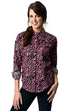 Cowgirl Hardware® Juniors Pink and Black Zebra Print with Studded Winged Cross Long Sleeve Western Shirt
